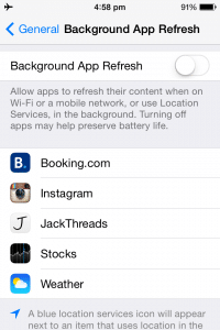 how to make my iphone battery last longer: disable app refresh iphone