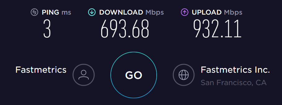 fastmetrics san francisco speedtest.net test result showing faster upload speed september 11th 2019