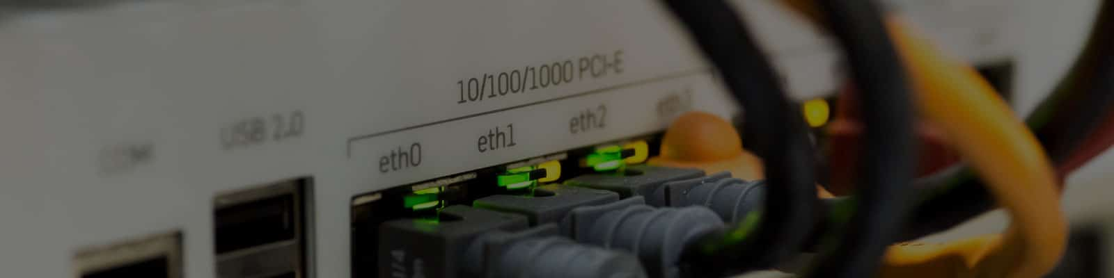 managed routers showing ethernet cables plugged in