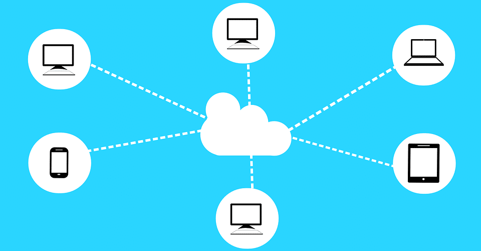 image of a white cloud with different user devices connected to the cloud