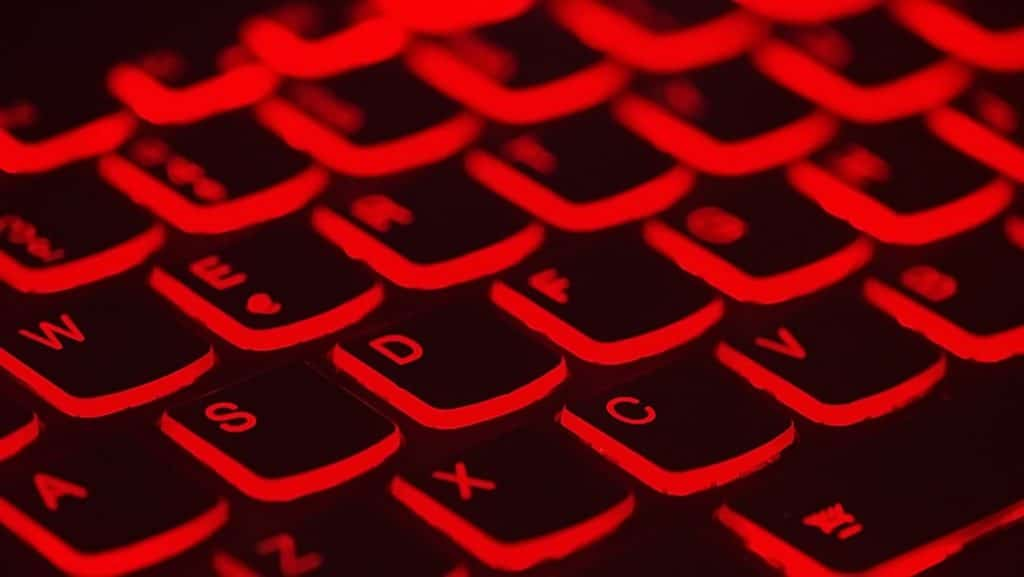 red backlit keyboard of laptop