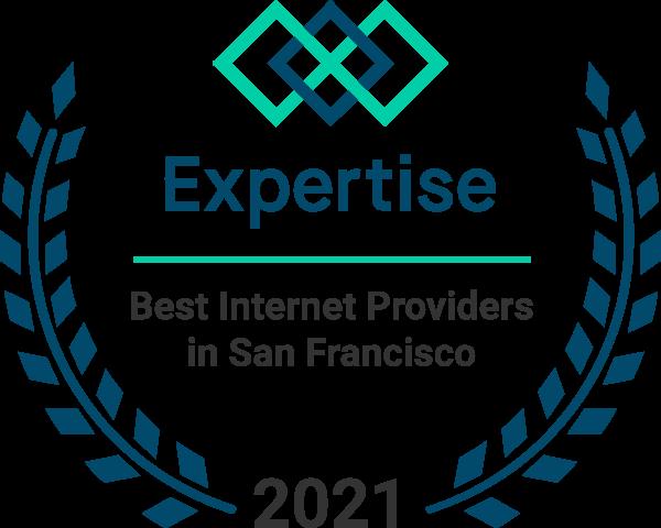 Fastmetrics ISP rated #1 'Best Internet Provider San Francisco 2021' by Expertise - award badge