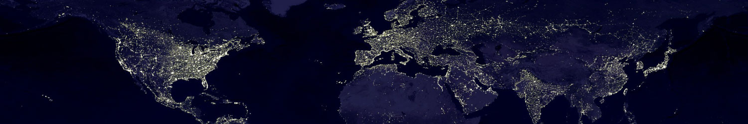 world map of countries from satellite view at night time showing city lights