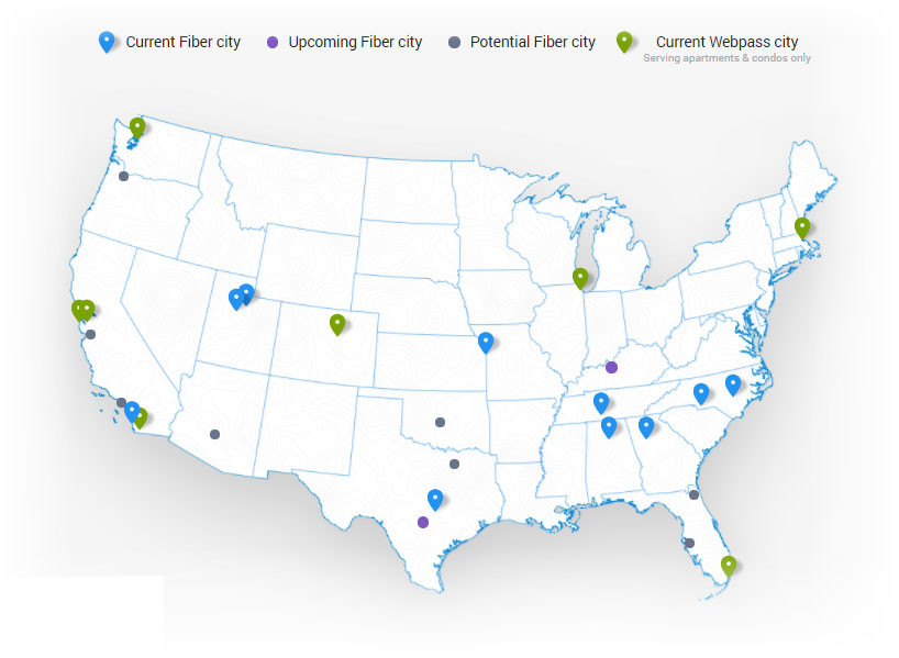 google fiber availability map USA - current and new cities