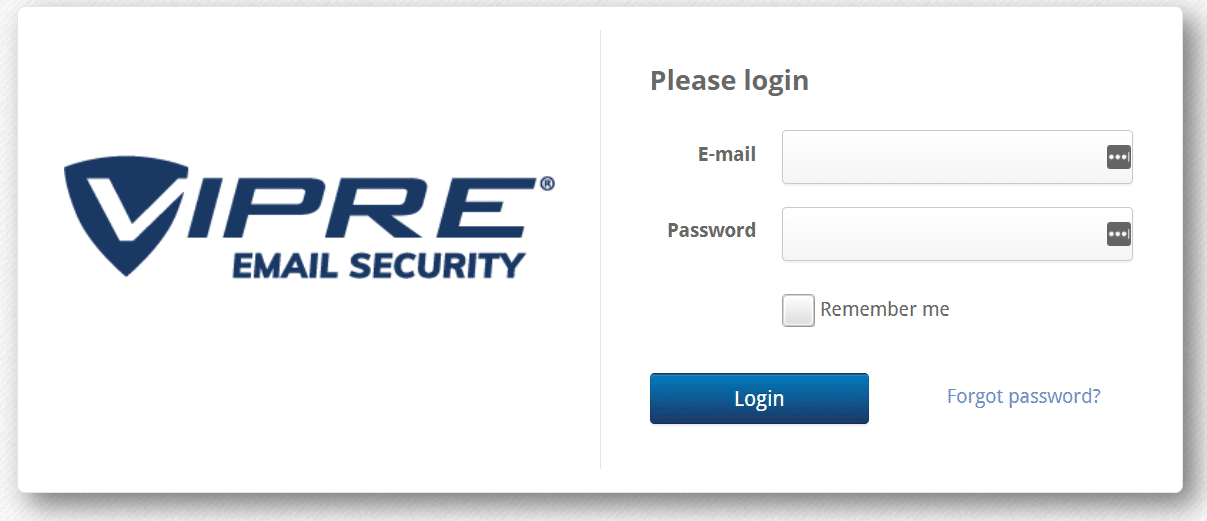 VIPRE email security and malware protection solution - log in screen